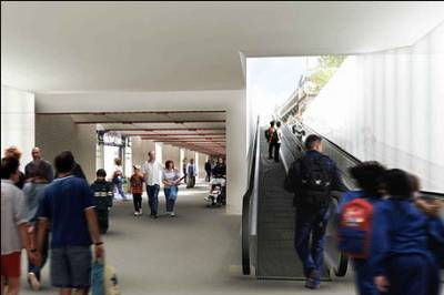 Impression of the renovated subway with travelators leading up to the surface