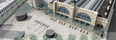 Bird's eye impression of new King's Cross piazza